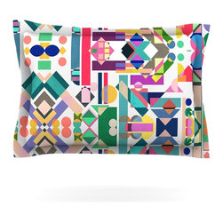 "Kess InHouse - Mareike Boehmer ""Geometry 2B"" Abstract Rainbow Pillow Sham (Woven, 30"" x 20"") - Pairing your already chic duvet cover with playful pillow shams is the perfect way to tie your bedroom together. There are endless possibilities to feed your artistic palette with these imaginative pillow shams. It will looks so elegant you won't want ruin the masterpiece you have created when you go to bed. Not only are these pillow shams nice to look at they are also made from a high quality cotton blend. They are so soft that they will elevate your sleep up to level that is beyond Cloud 9. We always print our goods with the highest quality printing process in order to maintain the integrity of the art that you are adeptly displaying. This means that you won't have to worry about your art fading or your sham loosing it's freshness."
