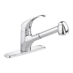 American Standard - Reliant+ Single Handle Pull-Out Sprayer Kitchen Faucet in Stainless Steel - American Standard 4205.104.075 Reliant+ Single Handle Pull-Out Sprayer Kitchen Faucet in Stainless Steel. The American Standard Reliant+ Single-Handle Pull-Out Sprayer Kitchen Faucet in Stainless Steel has an extra-long, high swivel spout that's great for filling vases and stock pots. Drip-free and built to last, the spout makes it easy to switch water flow from a stream to a spray, making even difficult spraying tasks easy.American Standard 4205.104.075 Reliant+ Single Handle Pull-Out Sprayer Kitchen Faucet in Stainless Steel, Features:Stainless steel faucet complements your kitchen decor