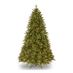 National Tree Company - 7.5 ft. Feel Real Scranton Fir Hinged Christmas Tree - Clear Multicolor - PESCR4 - Shop for Holiday Ornaments and Decor from Hayneedle.com! So realistic you'd swear it needs watering the 7.5 ft. Feel Real Scranton Fir Hinged Christmas Tree - Clear provides a warm welcome look to your living room. This healthy-looking faux-fir is supported by a solid metal trunk and comes with a sectional design for effortless storage and assembly each year. Its hinged branches are strung-through with 750 UL-certified clear incandescent lights featuring a ready-lit design that won't suddenly go dark if an individual bulb burns out. The branches are tipped with 2 850 green PVC both fire-resistant and hypoallergenic. Spare bulbs and fuses are provided with the set. Also included are a foldable metal tree-stand and a reusable storage container.About National Christmas ProductsNational Christmas Products isn't quite Santa's workshop but they're getting closer with each passing year. A variety of holiday decor products are offered by the company including wreaths garlands Christmas trees and more. Each of the greenery products are artificial for a long-lasting indoor/outdoor design but feature a Feel-Real aesthetic that's nearly indistinguishable from a fresh-cut tree. Several sizes and colors of trees are available with many pre-lit options. Whatever your need National Christmas Products is here to serve.