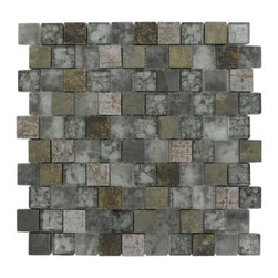 "GlassTileStore - Vestige Storm Clouds Marble & Glass Tiles - VESTIGE STORM CLOUDS TILE  This stunning combination of the multi-colored slate with the frosted and polished glass and metallic etched deco will give any room a modern and contemporary ambience. Add a pop to any room with these beautiful tiles that are versatile; great to use for a backsplash for a kitchen or a fireplace     Chip Size: 1.18"" x 1.18""   Color: Multicolor, Metallic, Light and Medium Gray   Material: Slate, Glass and Etched Deco   Finish: Frosted and Polished    Sold by the Sheet - each sheet measures 12.5""x12.5"" (1.09sq. ft.)   Thickness: 8mm    - Glass Tile -"