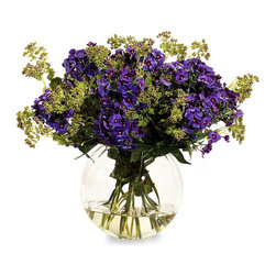 "Frontgate - Mounded Phlox Bouquet - Polyester silk blooms and leaves look strikingly realistic. Clear glass round vase. Filled with acrylic ""water"". The Mounded Phlox Bouquet looks fresh from the garden. Deep purple phlox blooms made of polyester silk are accentuated by hint of pink joe-pye weed.  . . . Imported."