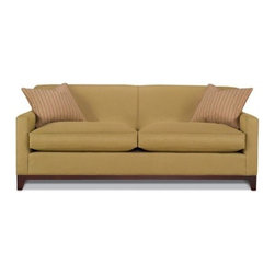 """Rowe Furniture - Martin Mini Mod Sofa - Lined with crisp contemporary style and supplied with clean upholstered look, the Martin Mini Sofa will make a good collection. With its attached padded back, coordinating seat cushion and tapered legs, this will be a great accent to your living room, merging style and comfort into a single unique style. Engage in a new way of relaxation and comfort with this environment friendly piece. Features: -80"""" Track arm sofa with wood trimmed front rail. -Tight Back styling offers clean lines to design. -Constructed by sustainable hardwoods and hardwood plywoods, which are kiln dried for durability and strength. -Cushions supported by a high carbon steel, sinuous suspension system for comfort and support. -High Resiliency Foam cushions wrapped with polyester fiber. -Comes with two 20"""" Throw Pillows. -Twenty six fabrics to choose from. -Construction Material: Kiln-Dried Sustainable Hardwoods; High Carbon Steel Springs, High Resiliency, Eco-Friendly Foam, Water Based Glues. -Made in the USA. Specifications: -Sofa Dimensions: 35"""" H x 80"""" W x 36"""" D. -Loveseat Dimensions: 35"""" H x 61"""" W x 36"""" D. -Chair Dimensions: 35"""" H x 32"""" W x 36"""" D. -Ottoman Dimensions: 20"""" H x 28"""" W x 22"""" D."""
