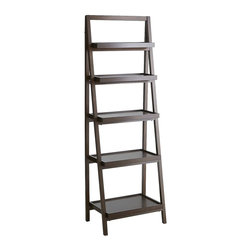Morgan Tall Shelf, Tuscan Brown - This bookshelf in Tuscan brown would work great for cookbooks and plants, as well as spices and other containers for dry goods.