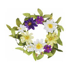 """Oddity - Oddity 3"""" Zinnia and Daisy Candle Ring Pack 2 - Purple and lime zinnias paired with white daisy's create a timelessly beautiful floral creation. The subtle hues make this collection perfect for spring decorating!"""