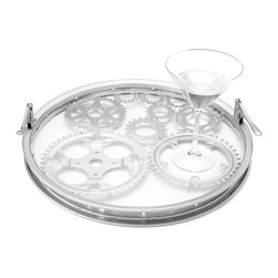 Inova Team -Modern Coater Steel Glass Handmade Serving Tray - This upcycled tray delivers some delicious design to your green lifestyle. It's handmade by designer Gilbert VandenHeuvel, an avid cyclist who loves incorporating reclaimed bicycle parts into his furniture and decorative art pieces. Here he uses a round frame that he fills with bicycle gears. The varied sizes and shapes of the gears almost suggest snowflakes, and because VandenHeuvel is using reclaimed materials, no two trays will be alike. Covering the gears is a sturdy circle of tempered glass, and completing the tray are handles made from bicycle brake grips. The tray deftly rides the line between formal functionality and casual design, and lets you celebrate your love of cycling as you serve appetizers at a dinner party or drinks out on the patio.