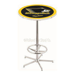 Holland Bar Stool - Holland Bar Stool L216 - 42 Inch Chrome Michigan Tech Pub Table - L216 - 42 Inch Chrome Michigan Tech Pub Table  belongs to College Collection by Holland Bar Stool Made for the ultimate sports fan, impress your buddies with this knockout from Holland Bar Stool. This L216 Michigan Tech table with retro inspried base provides a quality piece to for your Man Cave. You can't find a higher quality logo table on the market. The plating grade steel used to build the frame ensures it will withstand the abuse of the rowdiest of friends for years to come. The structure is triple chrome plated to ensure a rich, sleek, long lasting finish. If you're finishing your bar or game room, do it right with a table from Holland Bar Stool.  Pub Table (1)