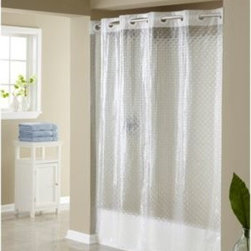 Hookless - Hookless 3D Diamond 71-Inch W x 74-Inch L Shower Curtain - This innovative Hookless shower curtain offers no hassles, thanks to the patented Flex-On rings that eliminate the need to buy shower curtain rings and dealing with them falling off the curtain.