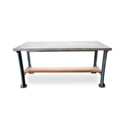 Industrial Steel Desk with Grey Metal Top - Reclaimed vintage industrial machine shop work table with a beautiful painted grey steel top. Great for use as a desk, work table, kitchen island, or in a retail environment.