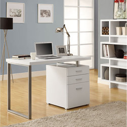 Monarch - Hollow-core Right/ Left-facing White 48-inch Desk - Customize your workspace with this hollow-core white desk. The desk comes with a metal frame and a three-drawer filing cabinet that can be flipped to be positioned on the left or right side, so you can create the perfect configuration.
