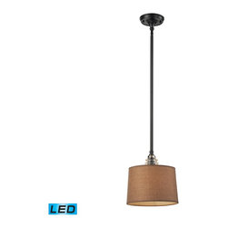 Elk Lighting - Elk Lighting Insulator Glass Pendant Light with Oiled Bronze X-DEL-1-91866 - The Insulator Glass Collection Was Inspired By The Glass Relics That Adorned The Top Of Telegraph Lines At The Turn Of The 20Th Century.  Acting As The Centerpiece Of This Series Is The Recognizable Shape Of The Glass Insulator, Made From Thick Clear Glass That Is Complimented By Solid Cast Hardware Designed With An Industrial Aesthetic. Finishes Include Polished Chrome, OiLED Bronze, And Weathered Zinc. - LED Offering Up To 800 Lumens (60 Watt Equivalent) With Full Range Dimming. Includes An Easily Replaceable LED Bulb (120V).