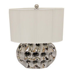 """ecWorld - Artisan 26"""" High Brushed Silver Ceramic Table Lamp - A bold update that maintains its elegant stature through and through�all the way up to its sleek, off-white string thread shade. This accent is perfectly timeless in any setting."""