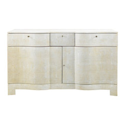 Lillian August - Lillian August Louis Shagreen Serpentine Chest LA98531-01 - The louis chest is more sculpture than furniture. The shaped doors and drawers are only slightly interrupted by the small key pulls. The off-white shagreen surface dramatically adds surface interest to this unique credenza.