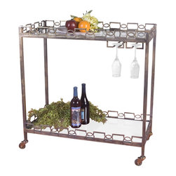 Micoline Serving Cart - Welcome your treasured guests to a glittering holiday fete, a summer soiree on the terrace, a spur of the moment get-together as the cool of twilight approaches. Fashioned from forged iron with brass patina and clear, tempered glass, the Nicoline Serving Cart also features a stemware hanger. Rolling coasters afford ease in moving to the location of your choice.