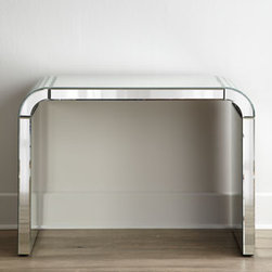 "Horchow - Arcadia Mirrored Console - We love the clean, simple lines and rounded corners of this stunning console. Finished on all sides with mirrored glass, it reflects the beauty of its surroundings as it provides display space. Handcrafted of wood composite and mirrored glass. 41""W x...."