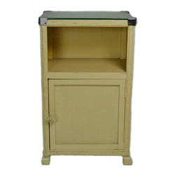 Lavish Shoestring - Consigned Lloyd Loom Bedside Bath Cabinet Stand, Vintage English - This is a vintage one-of-a-kind item.