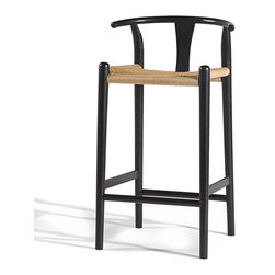 Gingko - Xian Barstool, Black - Rushing to the bar takes on new meaning with this stool. Reminiscent of Asian and classic midcentury designs, this stylish bar-height stool is handmade from solid walnut with a rush seat and comes in a choice of dark, natural or black finishes. When's the last time you saw a perch with this much panache?
