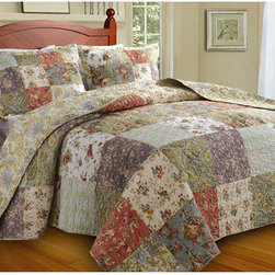 None - Blooming Prairie Full-size 3-piece Bedspread Set - This Blooming Prairie bedspread set fills your bedroom with a riot of garden colors. This bedding set features an oversize design to provide better coverage on today's deeper mattresses.