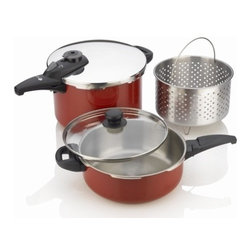 """Fagor - 5 Piece Cayenne Stainless Steel Pressure Cooker Set - Fagor's NEW Cayenne color pressure cooker adds a splash of """"flavor"""" to any kitchen.Crafted from 18/10 Stainless Steel designed with sleek and ergonimically designed handles for easier opening and closing."""
