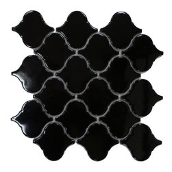 """GL STONE - Arabesque  Black Ceramic Mosaic Tile - Arabesque Black Ceramic Mosaic Tile comes with polished surface and looks like lantern shaped. Our arabesque ceramic wall Tiles are perfect choices to enhance the interior decor, such as bathroom wall, kitchen back splash, surround wall, etc. It will sell by 10.25"""" X 10.50"""", 0.75 square feet per sheet. The color also use the black."""
