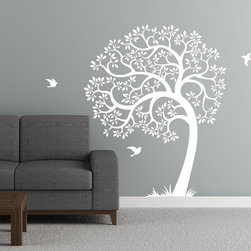 Cherry Walls - Singing Tree Wall Decal - Create a magical sanctuary with this fanciful wall decal. Made of removable matte vinyl, the graceful tree is surrounded by tufts of grass and three birds in flight. It's a simple way for you to add whimsy and wonder to a space.