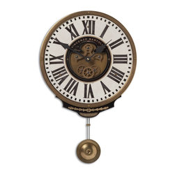Uttermost - Uttermost Vincenzo Bartolini Cream Traditional Wall Clock X-12060 - Weathered, laminated clock face with a cast brass outer rim, brass center components and pendulum. Requires 1-AA battery.