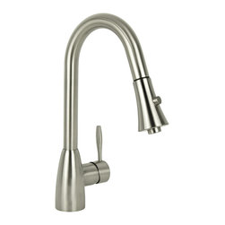 None - Modern European Brushed Nickel Pull Down Kitchen Faucet - Sleek design beckons attention with this modern pull-down kitchen faucet. With a single-hole mount design and single-handle lever,this elegant bell-shaped faucet is finished in a brushed nickel. The spray head has two functions for versatility.