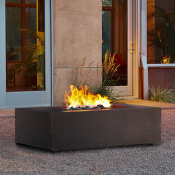 Real Flame - Real Flame Baltic Rectangle Nat Gas Fire Table- Kodiak Brown - Define your outdoor space with the clean design of a Real Flame Baltic Rectangle Natural Gas Fire Table. This fire table comes complete with lava rock,lid,leveling feet,10' gas hose and a protective cover for when the table is not in use.