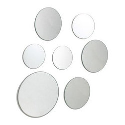 Set of 7 Round Wall Mirrors - Multiple Sizes - Fun and versatile, the Set of 7 Round Wall Mirrors - Multiple Sizes makes decorating easy. This set includes seven circular mirrors that appear to float off the wall. Set includes one 9-inch, three 6-inch, and three 3-inch diam. mirrors.
