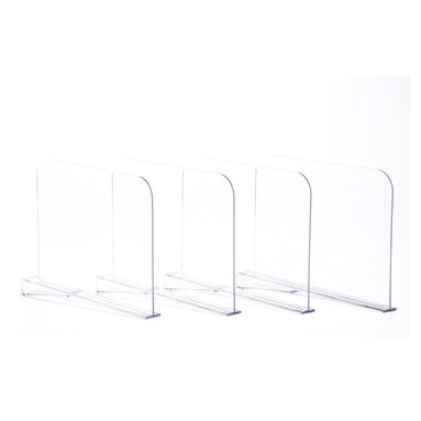 Clos-ette Too - Acrylic Shelf Dividers, Set of 4 - Our genius shelf dividers allow you to organize your shelves in seconds. Simple and sleek in design, they slide easily onto any standard-size shelf and secure into place with a built-in clip. Ideal for separating folded clothing into neat stacks, corralling handbags and clutches, and creating cubbies for your large, bulky items. It's the ultimate closet accessory. Designed to fit 3/4-1 thick shelves. Made of 3/16 Acrylic. Clear finish allows for optimum viewing