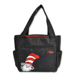"""Trend Lab - Diaper Bag - Dr. Seuss Cat In The Hat Tulip Tote - Hit the road equipped and in style with this Dr. Seuss Cat in the Hat Tote Bag by Trend Lab. Nylon bag features a black body with red lining and a fun peek-a-boo Cat in the Hat in the lower left corner. Outside of the bag has two side bottle pockets, a front zippered pocket and a wide pocket across the back. Inside are four pockets that will keep all your travel necessities organized. Magnet closure keeps inside contents secure. Removable, coordinating changing pad and transparent dirty duds zippered pouch included. Bag: approximately 13"""" x 12"""" x 7"""" with 24"""" straps, Changing Pad: 24"""" x 14"""", Dirty Duds Pouch: 10"""" x 8"""". Product sold under license from Dr. Seuss Enterprises, L.P."""