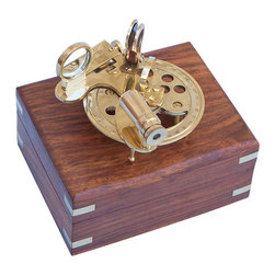 Handcrafted Nautical Decor - Round Sextant 4'' Nautical Sextant Nautical Decorating Accessories Nautical Gif - --This brass round sextant is a wonderfully crafted nautical piece that brings an intriguing part of maritime history into any collection. Polished to a beautiful mirror-like shine, this round sextant brings an air of class and sophistication to any room in which it is displayed.--This small round sextant can be placed on nearly any desk, table, shelf, or display case to add a gorgeously constructed conversation piece to your home, office, or boat.------    Polished brass body and mechanisms--    Glass optics for a clear view (not plastic lenses)--    Fully functional sextant operates like a real      navigational tool--    Solid rosewood box lined with felt to store      sextant--    Brass anchor emblem inset in face of rosewood box--    ----This functional sextant is crafted as a beautiful nautical decor item and is not calibrated, intended or recommended for actual navigational use--