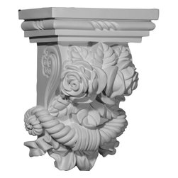 "Ekena Millwork - 8 1/2""W x 5 1/4""D x 11 3/8""H Rose Corbel - 8 1/2""W x 5 1/4""D x 11 3/8""H Rose Corbel. These corbels are truly unique in design and function. Primarily used in decorative applications urethane corbels can make a dramatic difference in kitchens, bathrooms, entryways, fireplace surrounds, and more. This material is also perfect for exterior applications. It will not rot or crack, and is impervious to insect manifestations. It comes to you factory primed and ready for your paint, faux finish, gel stain, marbleizing and more. With these corbels, you are only limited by your imagination."