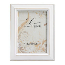 Lawrence Frames - Weathered White Wood 8x10 - Beautiful distressed White wood picture frame.  Hand finished so that every piece is unique and different.  Designer wood picture frame has a casual but elegant decorative look.  High quality White velvet backing.  Frame can stand vertically or horizontally and comes with hangers for horizontal or vertical wall mounting.   Individually boxed.