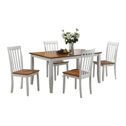 Boraam - Boraam Bloomington 5 Piece Dining Set in White/Honey Oak - Boraam - Dining Sets - 22033 - A reliable 5-piece dining set with a versatile appearance and rich color finish is exactly what you'll find here. The Bloomington 5-piece set is the perfect size to gather loved ones around for all occasions. Engineered with solid hardwood and precision construction equals a durable dining set that will surely stand the test of time. Additional stability is also provided through the shaker style table and chair legs. Its smooth lines and handsome appearance will undoubtedly boost the ambience of any dining area. Plus its attractive two-toned color finish makes it seamlessly transition with anyone's interior decor taste. Interested in making a 6 or 7-piece set? Simply add the Bloomington Bench to make a 6-piece set or two more Bloomington Chairs to create a 7-piece set! Either way you can't go wrong. Stable with a classic look; this set is not a purchase but an investment.