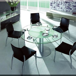 VIG 1891-Dining Table - Frosted lazy suzan glass in the middle with Satin polished base and side buffet are also available.