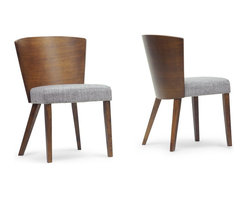 "Baxton Studio - Baxton Studio Sparrow Brown Wood Modern Dining Chair (Set of 2) - A minimalist dining chair effortlessly dresses up a dining space. Our Sparrow Modern Dining Chair is made in Malaysia with a rubberwood frame, walnut finish, and a foam cushion with matching brown fabric. This designer dining chair's convex backrest makes it ideal for use around a circular dining table. To clean, wipe with a dry cloth/spot clean. Assembly is required. 20.62""W x 22""D x 31.25""H, seat dimension: 19.37""W x 17.5""D x 19""H"