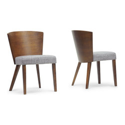 "Baxton Studio - Baxton Studio Sparrow Brown Wood Modern Dining Chair (Set of 2) - A minimalist dining chair effortlessly dresses up a dining space. Our Sparrow Modern Dining Chair is made in Malaysia with a rubberwood frame, walnut finish, and a foam cushion with matching brown fabric. This designer dining chair's convex backrest makes it ideal for use around a circular dining table. To clean, wipe with a dry cloth/spot clean. Assembly is required. 20.62""W x 22""D x 31.25""H, seat'sion: 19.37""W x 17.5""D x 19""H"