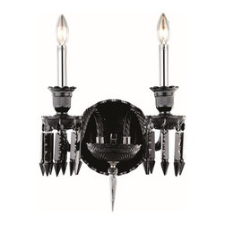 Elegant Lighting - 8902 Majestic Collection Black Finish Elegant Cut Jet Black Crystals Wall Sconce - Nothing is quite as elegant as the fine crystal chandeliers that gave sparkle to brilliant evenings at palaces and manor houses. The crystals in this beautiful Majestic Collection seem to cascade over the traditional frame creating in a majestic look.   The timeless elegance of this collection is sure to command an exceptional ambiance in every home.