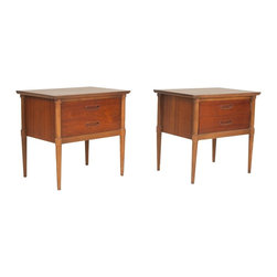 Lane Furniture Company - Consigned Mid Century American Modern Walnut Night Stand Pair by Lane - • Mid Century American Modern