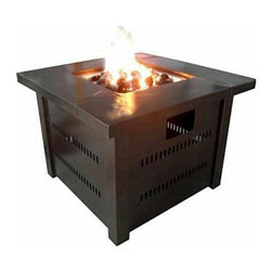 AZ Patio Heaters - LP Fire Pit with Lid- Antique Bronze - Propane Fire Pit With Lid- Antique Bronze.