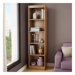 South Shore - South Shore Axess 5-Shelf Narrow Bookcase in Morgan Cherry - South Shore - Bookcases - 7276758 - Ideal for your binders books or decorative items this versatile 5-shelf bookcase can meet all your storage needs even in tight spaces. Both functional and attractive with its sleek contemporary styling this bookcase is sure to enhance the look of any room in your home.