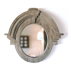 Large Mansard Mirror - This wonderful Mansard style mirror, hand-carved and made from recycled pine, would be stunning contrasting with a more formal chest or table in an entry or living room.  What a fabulous piece!