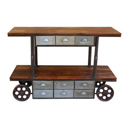"YOSEMITE HOME DECOR - Media/Display Cabinet - This versatile cart is can serve many purposes in any room. Use it as a unique accent table, a large serving cart or a media center. Solid mango shelves rest upon a solid metal frame w/nine all metal drawers. The top adjusts from 30""-42""H. The entire cart rests upon four large cast iron wheels. Assembled and Made in India.  Item Dimension in 60inches Width X 22inches Depth X 42inches Height"