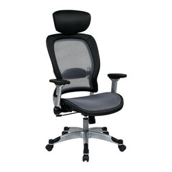 Office Star - Office Star Professional Light Air Grid Back and Seat Chair with Headrest - Office Star Professional Light Air Grid Back And Seat Chair With Headrest