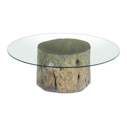 Tonel Coffee Table - This coffee table base is made of a hollow trunk from a tree that died naturally. It is the result of a natural process, which sometimes is started by a fungi intrusion through a broken branch. After being attacked, a tree may still live for many years, even decades, until it becomes completely hollowed out inside.