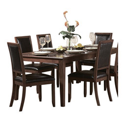 Homelegance - Homelegance Avalon 8 Piece Rectangular Dining Room Set in Cherry - This clean-lined transitional casual dining takes its roots from the art deco era of the 1930's. The Avalon dining collection is both straight forward and dramatic. Excitement comes from its simple yet elegant rectangular leg table and two round table options, streamlined bowed fronts bunching china with tear drop drawer pulls and its matched veneer drawer front design. The dark brown bi-cast vinyl chair with style and durability makes a statement of its own. Constructed of maple veneers with select hardwoods in a contemporary low sheen cherry finish.