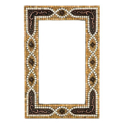 Landmark Metalcoat - Landmark Metalcoat Mosaic Mirror Frame Studded Bracket , Brass Antique Patina - All Landmark Metalcoat products are made to order. lead time 3 -5 weeks. Proudly made in the USA. Mesh mounted for easy installation.