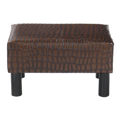 Holly & Martin - Gerard Foot Stool, Alligator - Add a wonderful accent to your home with a fashionable foot stool. Dressed with an eye catching faux alligator leather, this functional piece will definitely be a fun addition to any room.
