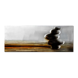 Pure Art - In Perfect Balance Contemporary Wall Art - A simple composition makes up the images in this tranquil metal wall art. It features a stack of smooth, round stones piled at one end of a roughhewn slab of wood. The stones seem precariously balanced, and perhaps that is the message behind the artwork: That life is a delicate balancing act in which inner peace can be achieved through simplicity.Made with top grade aluminum material and handcrafted with the use of special colors, it is a very appealing piece that sticks out with its genuine glow. Easy to hang and clean.