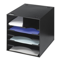 Safco - Steel Desktop Organizer in Black - Sturdy steel desktop organizer won't sag or crack like plastic trays can.  Perfectly-sized compartments feature front ledges to keep paper and envelopes secure and readily available.  Clever design allows for secure stacking to make the most of your space. Two envelope sized compartments. Five stationery sized compartments. Stackable upto 3 in. height. Limited lifetime warranty. Made from heavy gauge steel. Envelope: 4.75 in. W x 11.75 in. D x 3 in. H. Stationery: 9.75 in. W x 11.75 in. D x 1.25 in. H. 10 in. W x 12 in. D x 10 in. H (9 lbs.)Get the organization you need where you need it. With the Steel Desktop Organizer you can easily get any area of your workspace in order. Start with your office and continue to the print station, supply room, storage area, conference room, training area, classroom, media center, library and even your home office. That's a lot of organization power!